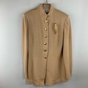 St John Vintage Camel Tan Knit Blazer Jacket